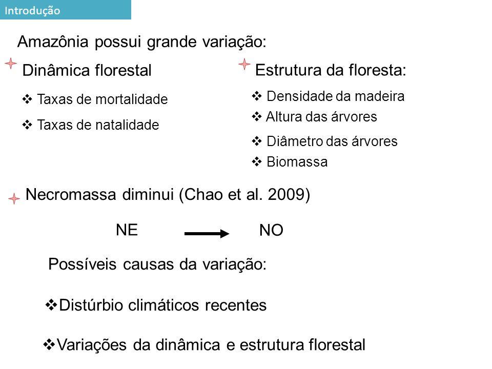 3 Estrutura da floresta: Amazônia possui grande variação: Taxas de mortalidade Dinâmica florestal Taxas de natalidade Densidade da madeira Diâmetro das árvores Altura das árvores Necromassa diminui (Chao et al.
