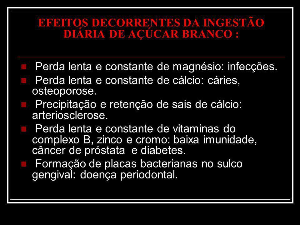 EFEITOS DECORRENTES DA INGESTÃO DIÁRIA DE AÇÚCAR BRANCO : Perda lenta e constante de magnésio: infecções. Perda lenta e constante de cálcio: cáries, o