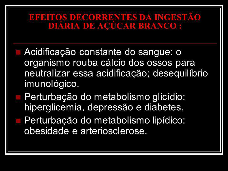 EFEITOS DECORRENTES DA INGESTÃO DIÁRIA DE AÇÚCAR BRANCO : Acidificação constante do sangue: o organismo rouba cálcio dos ossos para neutralizar essa a