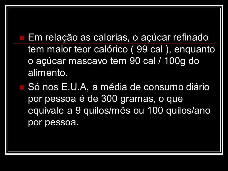 Em relação as calorias, o açúcar refinado tem maior teor calórico ( 99 cal ), enquanto o açúcar mascavo tem 90 cal / 100g do alimento. Só nos E.U.A, a