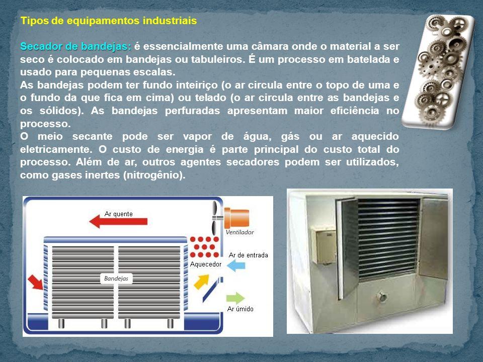 Tipos de equipamentos industriais Secador de bandejas: Secador de bandejas: é essencialmente uma câmara onde o material a ser seco é colocado em bandejas ou tabuleiros.