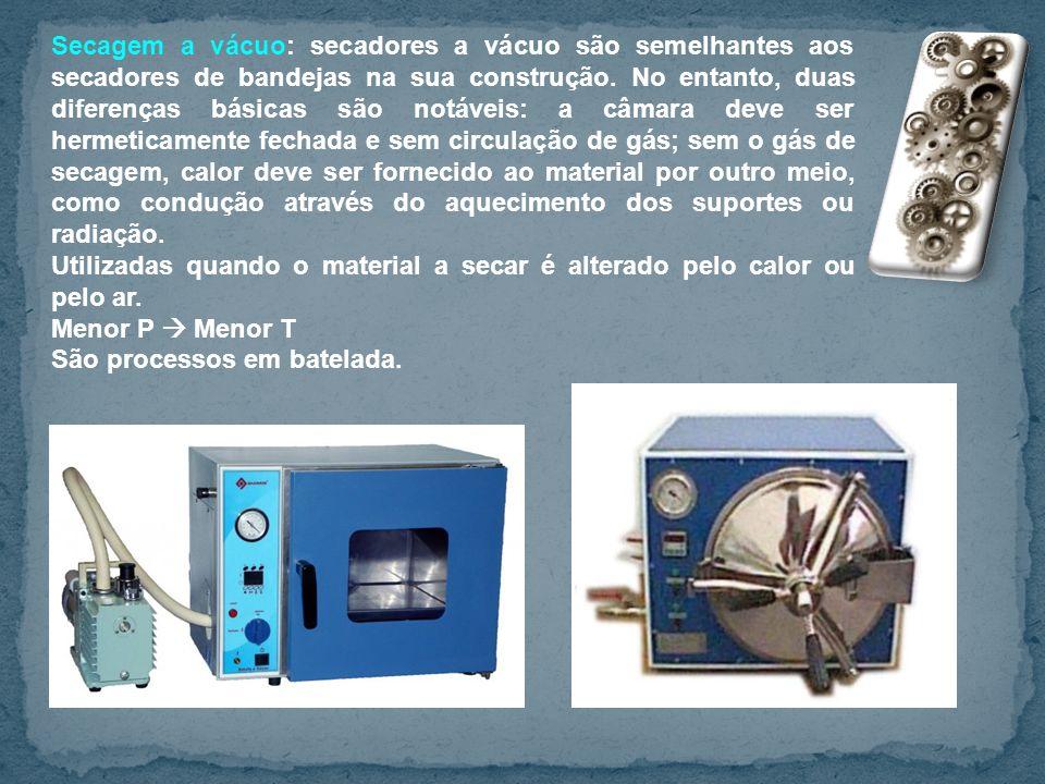 Secagem a vácuo: secadores a vácuo são semelhantes aos secadores de bandejas na sua construção. No entanto, duas diferenças básicas são notáveis: a câ
