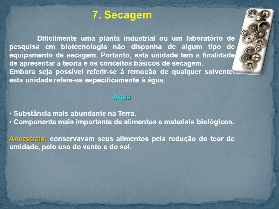 7. Secagem Dificilmente uma planta industrial ou um laboratório de pesquisa em biotecnologia não disponha de algum tipo de equipamento de secagem. Por