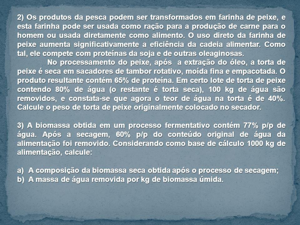 2) Os produtos da pesca podem ser transformados em farinha de peixe, e esta farinha pode ser usada como ração para a produção de carne para o homem ou