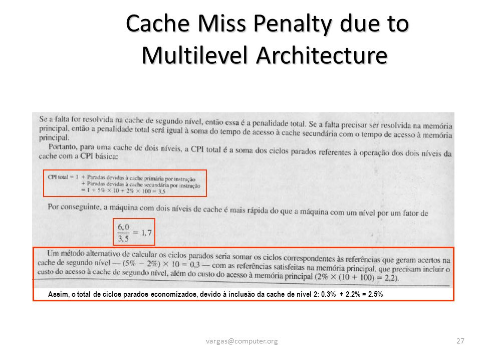 Cache Miss Penalty due to Multilevel Architecture Cache Miss Penalty due to Multilevel Architecture vargas@computer.org27 Assim, o total de ciclos par
