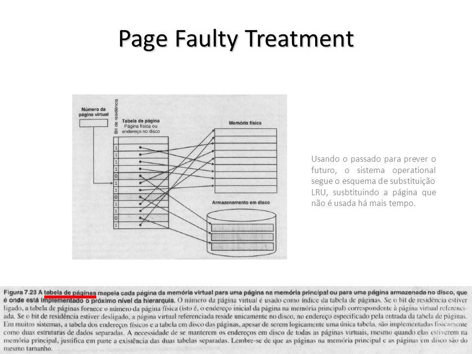 Page Faulty Treatment vargas@computer.org33 Usando o passado para prever o futuro, o sistema operational segue o esquema de substituição LRU, susbtituindo a página que não é usada há mais tempo.