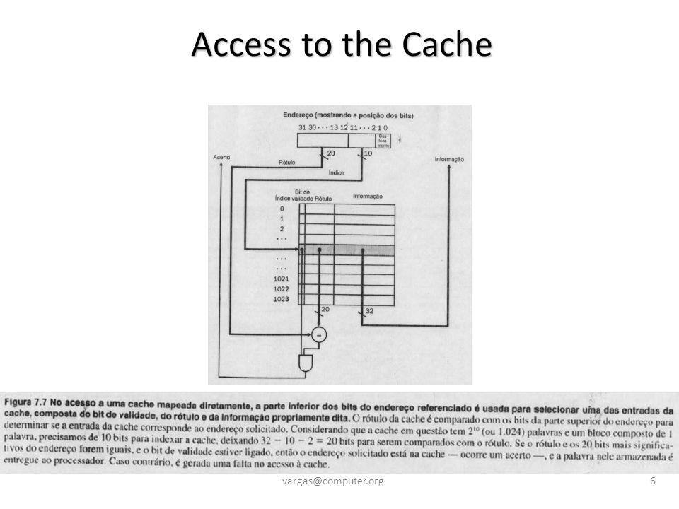 Cache Miss Penalty due to Multilevel Architecture Cache Miss Penalty due to Multilevel Architecture vargas@computer.org27 Assim, o total de ciclos parados economizados, devido à inclusão da cache de nível 2: 0.3% + 2.2% = 2.5%