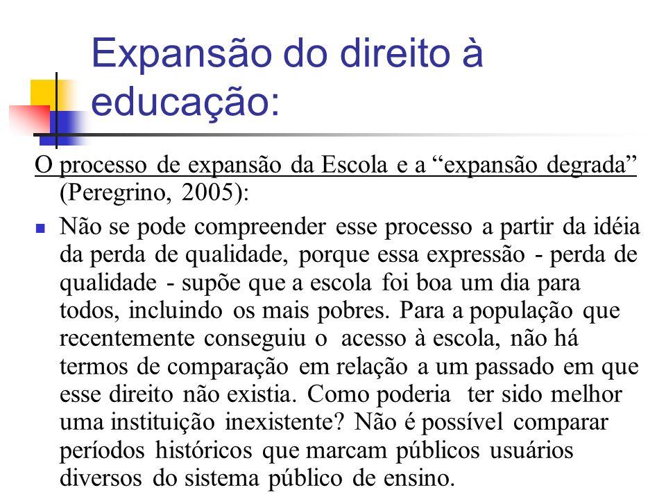 Expansão do direito à educação: O processo de expansão da Escola e a expansão degrada (Peregrino, 2005): Não se pode compreender esse processo a partir da idéia da perda de qualidade, porque essa expressão - perda de qualidade - supõe que a escola foi boa um dia para todos, incluindo os mais pobres.