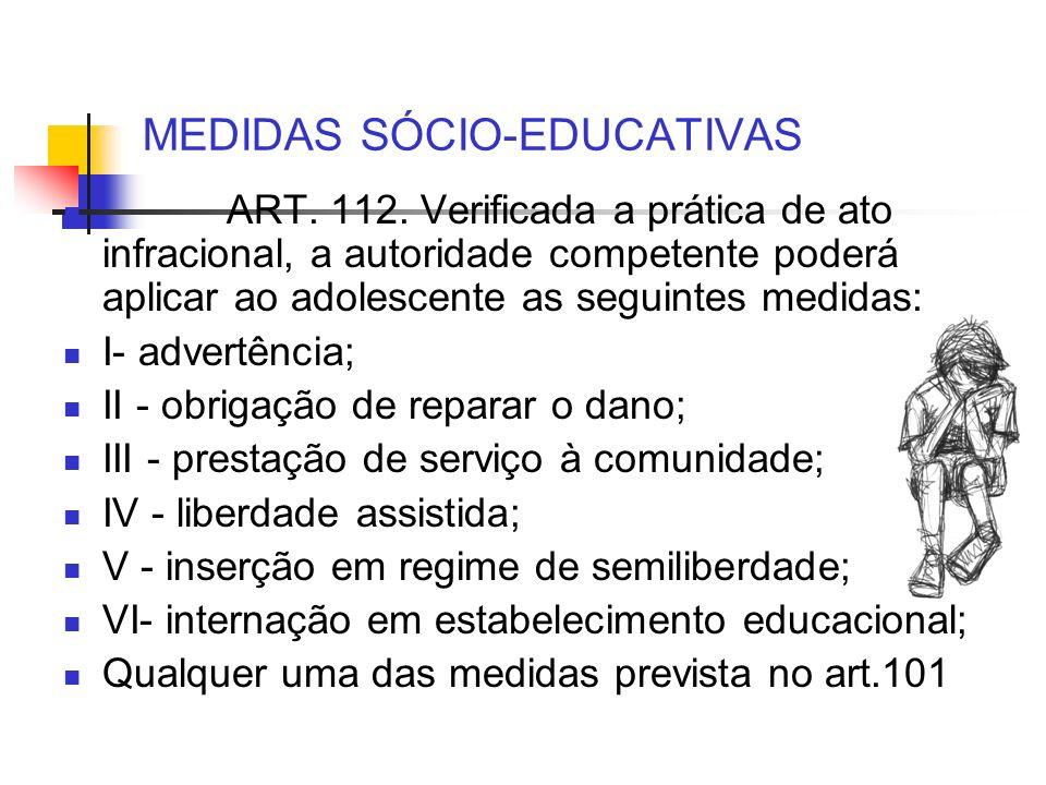 MEDIDAS SÓCIO-EDUCATIVAS ART. 112. Verificada a prática de ato infracional, a autoridade competente poderá aplicar ao adolescente as seguintes medidas