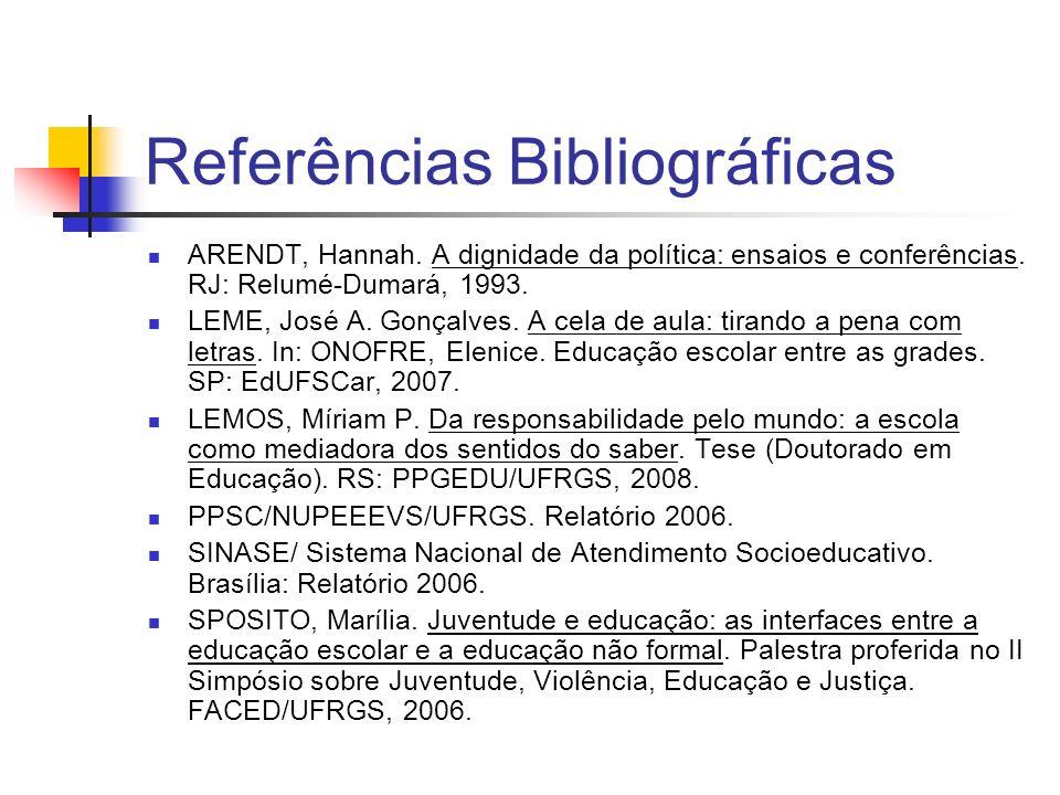 Referências Bibliográficas ARENDT, Hannah. A dignidade da política: ensaios e conferências. RJ: Relumé-Dumará, 1993. LEME, José A. Gonçalves. A cela d