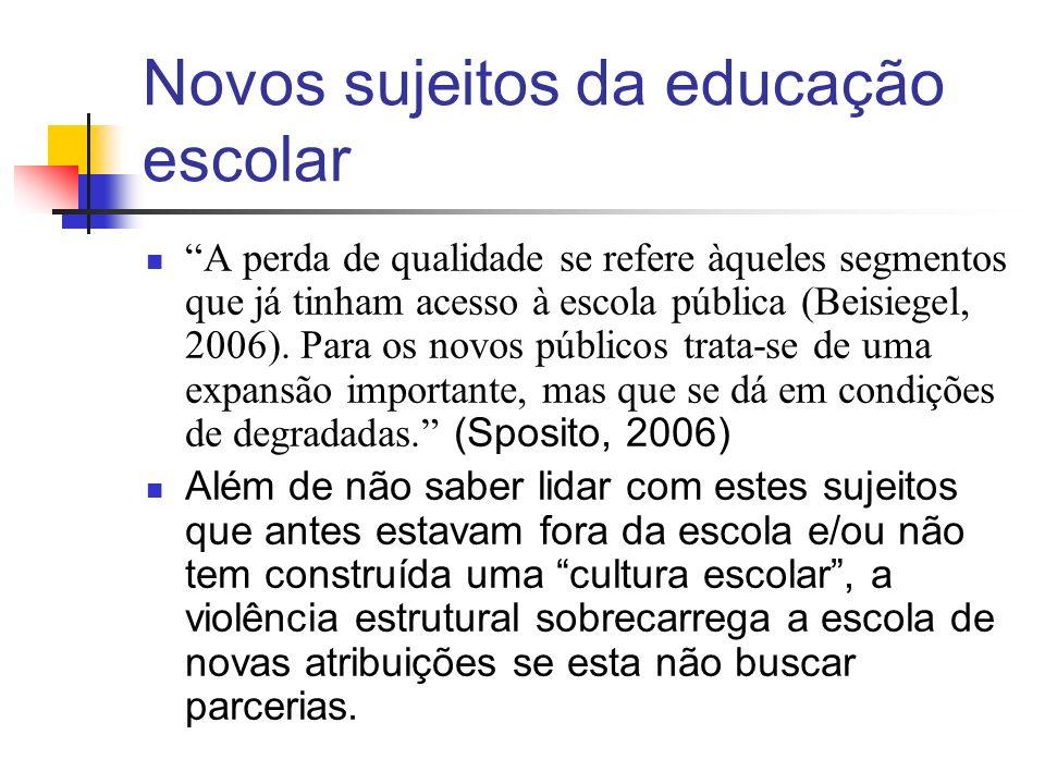 Novos sujeitos da educação escolar A perda de qualidade se refere àqueles segmentos que já tinham acesso à escola pública (Beisiegel, 2006). Para os n