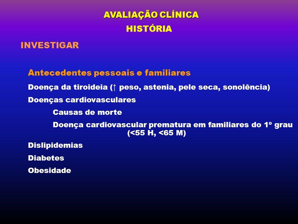 AVALIAÇÃO CLÍNICA Antecedentes pessoais e familiares Doença da tiroideia ( peso, astenia, pele seca, sonolência) Doenças cardiovasculares Causas de mo