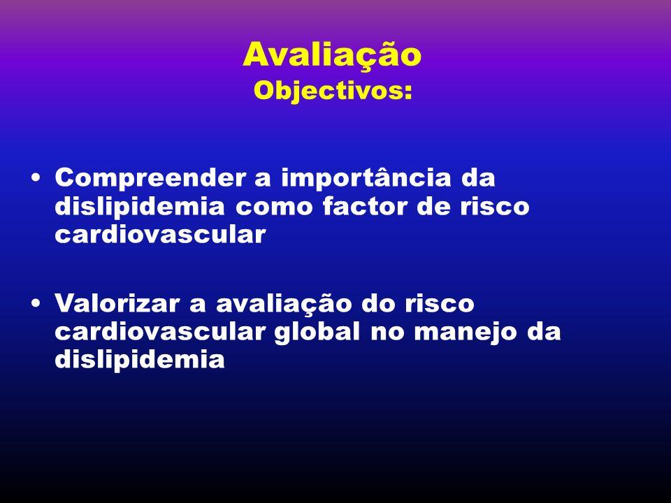 Avaliação Objectivos: Compreender a importância da dislipidemia como factor de risco cardiovascular Valorizar a avaliação do risco cardiovascular glob