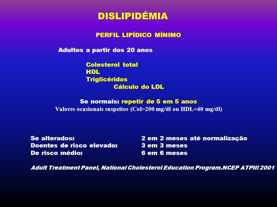 DISLIPIDÉMIA PERFIL LIPÍDICO MÍNIMO Adultos a partir dos 20 anos Colesterol total HDL Triglicéridos Cálculo do LDL Se normais: repetir de 5 em 5 anos