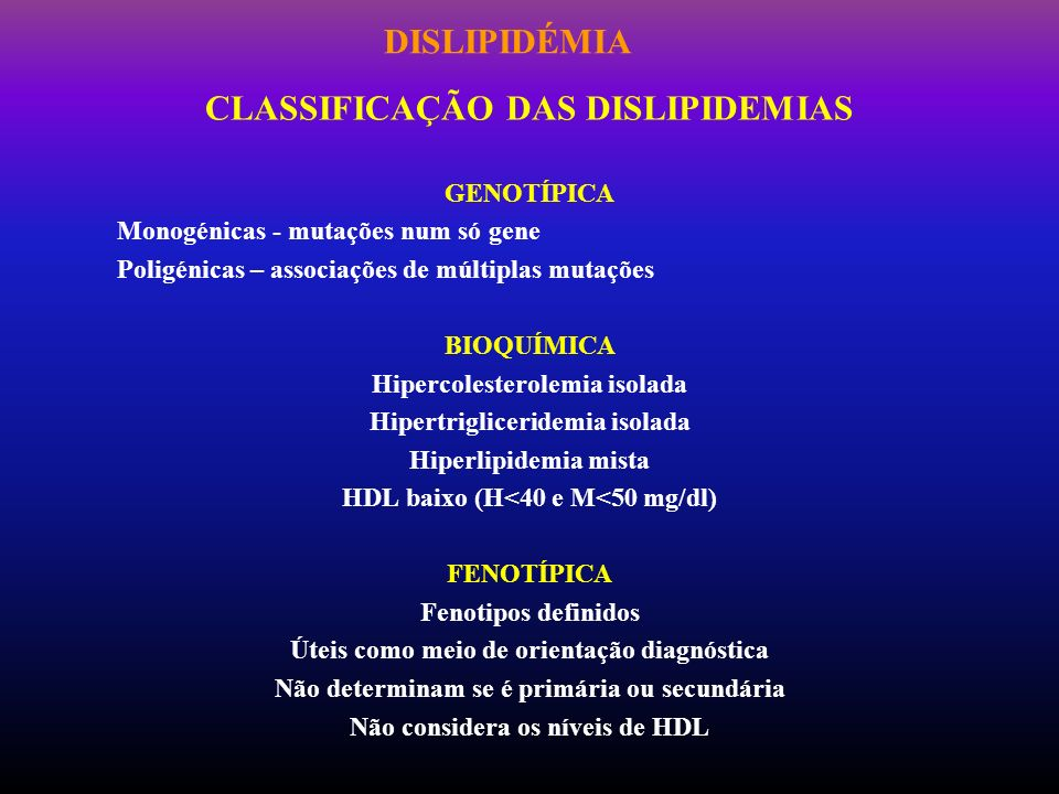 DISLIPIDÉMIA CLASSIFICAÇÃO DAS DISLIPIDEMIAS GENOTÍPICA Monogénicas - mutações num só gene Poligénicas – associações de múltiplas mutações BIOQUÍMICA