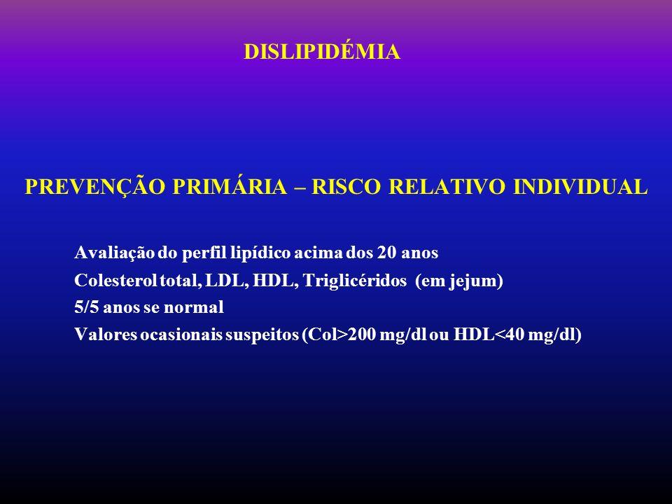 DISLIPIDÉMIA PREVENÇÃO PRIMÁRIA – RISCO RELATIVO INDIVIDUAL Avaliação do perfil lipídico acima dos 20 anos Colesterol total, LDL, HDL, Triglicéridos (