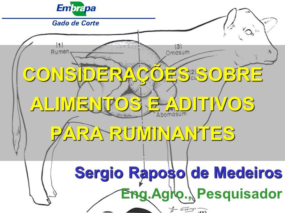 CONSIDERAÇÕES SOBRE ALIMENTOS E ADITIVOS PARA RUMINANTES Sergio Raposo de Medeiros Eng.Agro., Pesquisador