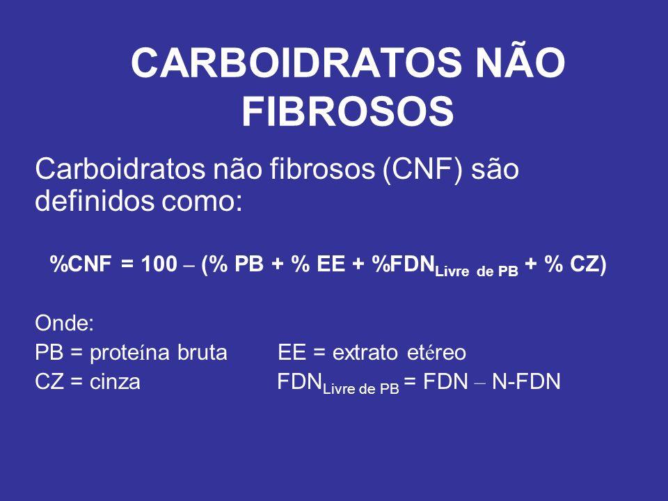 CARBOIDRATOS NÃO FIBROSOS Carboidratos não fibrosos (CNF) são definidos como: %CNF = 100 – (% PB + % EE + %FDN Livre de PB + % CZ) Onde: PB = prote í