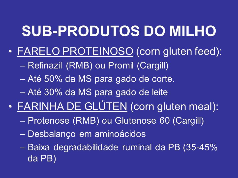 SUB-PRODUTOS DO MILHO FARELO PROTEINOSO (corn gluten feed): –Refinazil (RMB) ou Promil (Cargill) –Até 50% da MS para gado de corte. –Até 30% da MS par