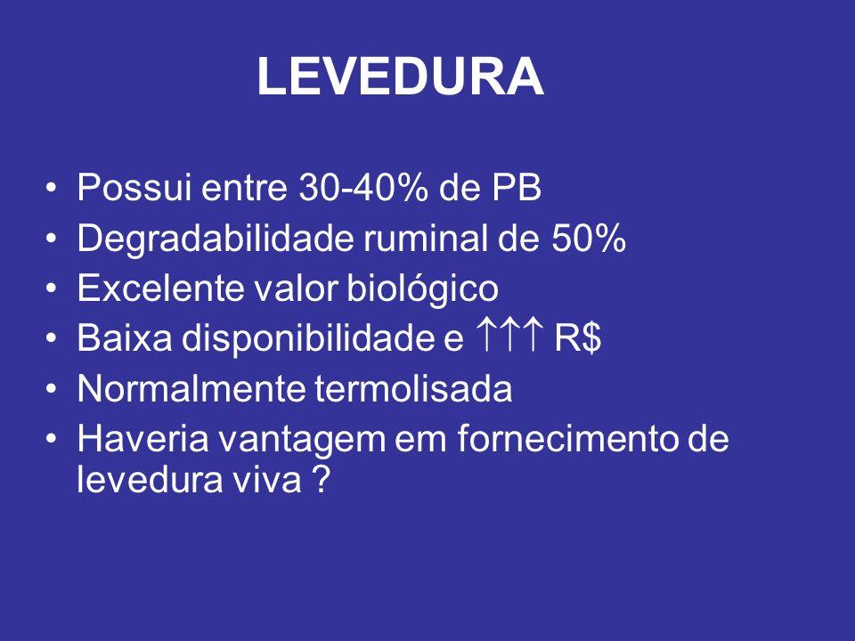 LEVEDURA Possui entre 30-40% de PB Degradabilidade ruminal de 50% Excelente valor biológico Baixa disponibilidade e R$ Normalmente termolisada Haveria
