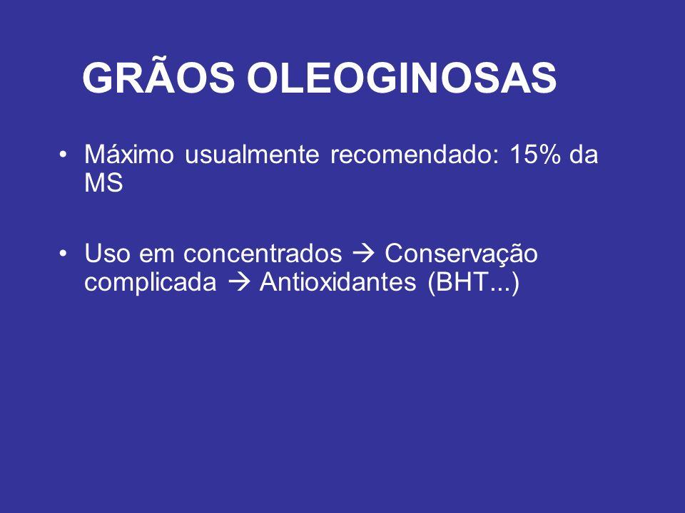 GRÃOS OLEOGINOSAS Máximo usualmente recomendado: 15% da MS Uso em concentrados Conservação complicada Antioxidantes (BHT...)