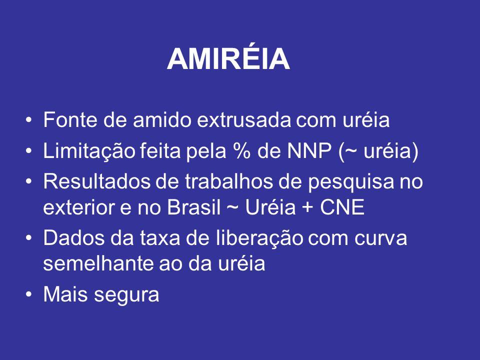 AMIRÉIA Fonte de amido extrusada com uréia Limitação feita pela % de NNP (~ uréia) Resultados de trabalhos de pesquisa no exterior e no Brasil ~ Uréia