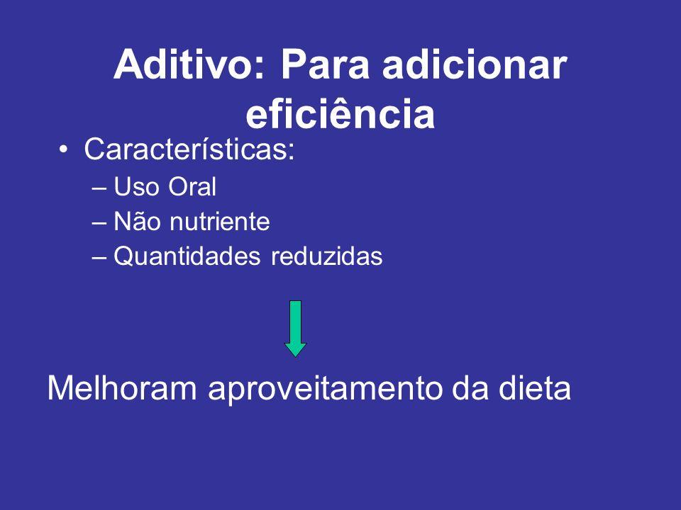 Aditivo: Para adicionar eficiência Características: –Uso Oral –Não nutriente –Quantidades reduzidas Melhoram aproveitamento da dieta