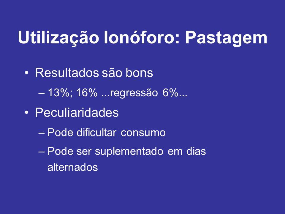 Utilização Ionóforo: Pastagem Resultados são bons –13%; 16%...regressão 6%... Peculiaridades –Pode dificultar consumo –Pode ser suplementado em dias a
