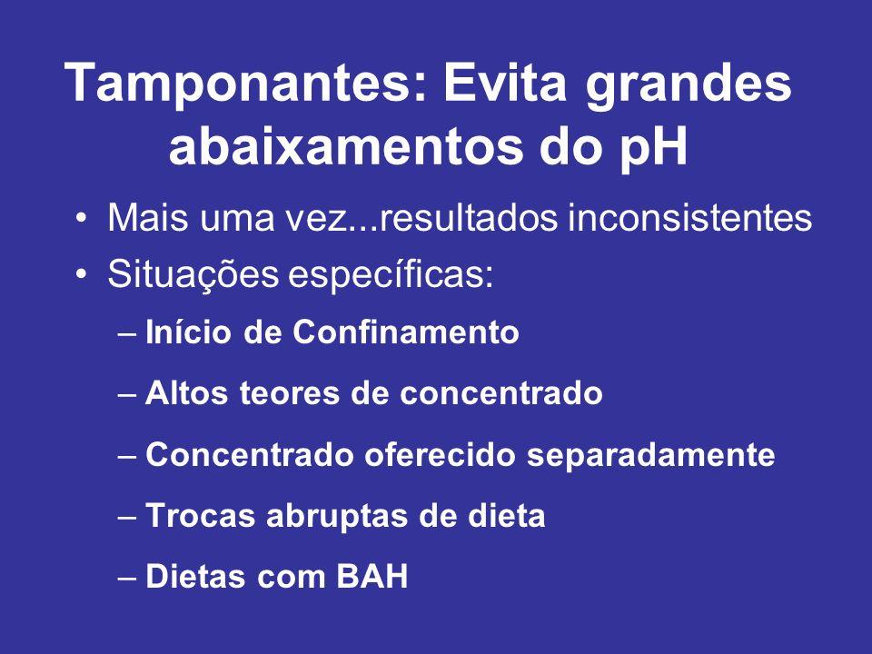 Tamponantes: Evita grandes abaixamentos do pH Mais uma vez...resultados inconsistentes Situações específicas: –Início de Confinamento –Altos teores de