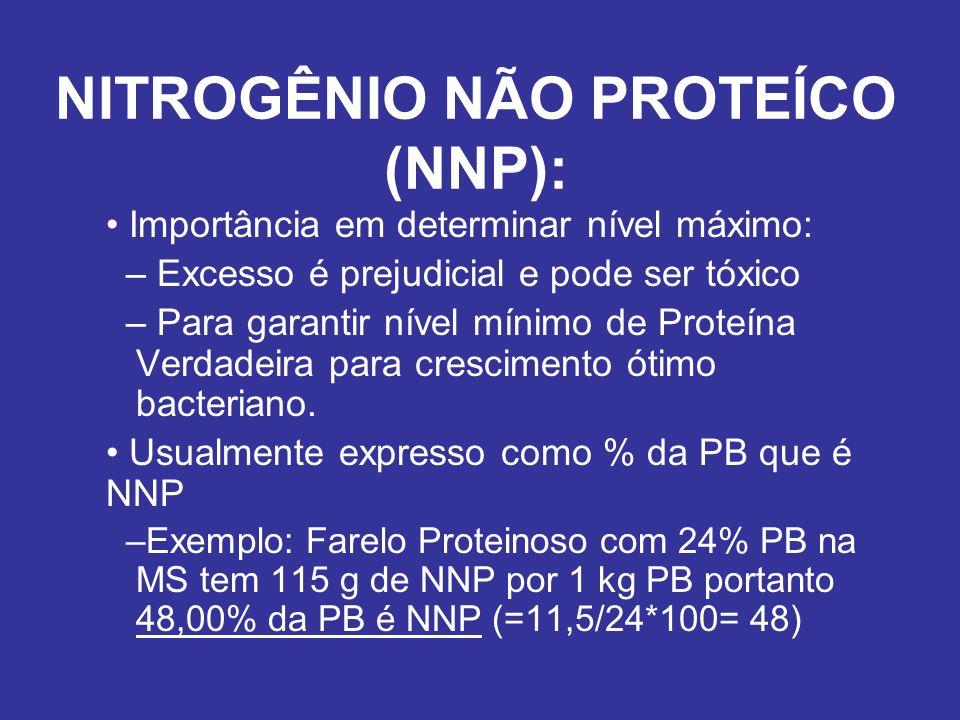 NITROGÊNIO NÃO PROTEÍCO (NNP): Importância em determinar nível máximo: – Excesso é prejudicial e pode ser tóxico – Para garantir nível mínimo de Prote