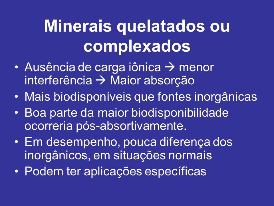 Minerais quelatados ou complexados Ausência de carga iônica menor interferência Maior absorção Mais biodisponíveis que fontes inorgânicas Boa parte da