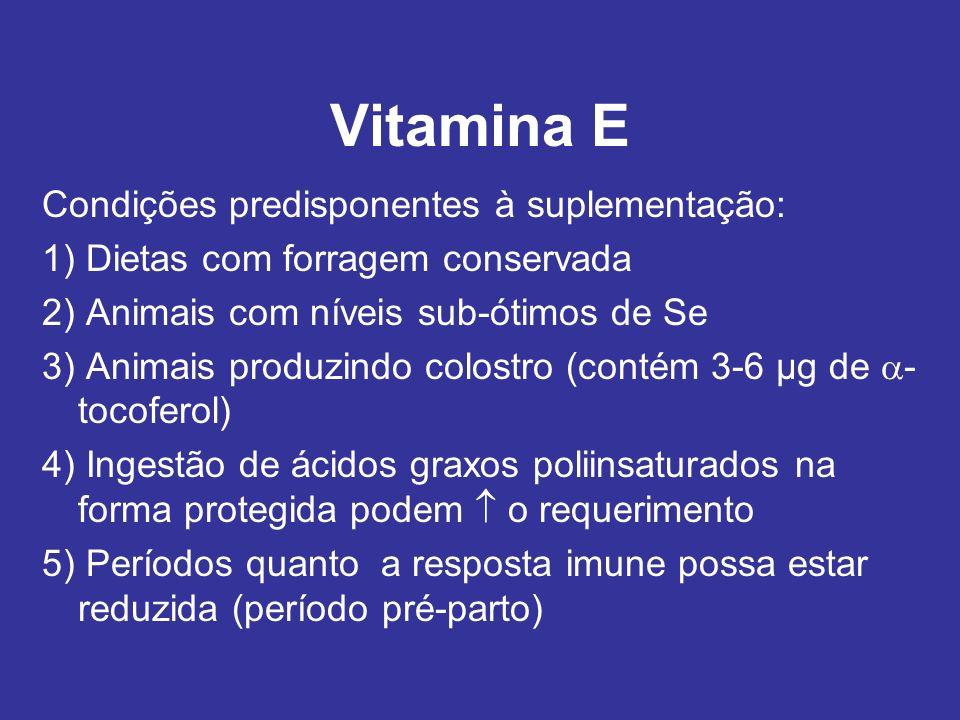 Vitamina E Condições predisponentes à suplementação: 1) Dietas com forragem conservada 2) Animais com níveis sub-ótimos de Se 3) Animais produzindo co