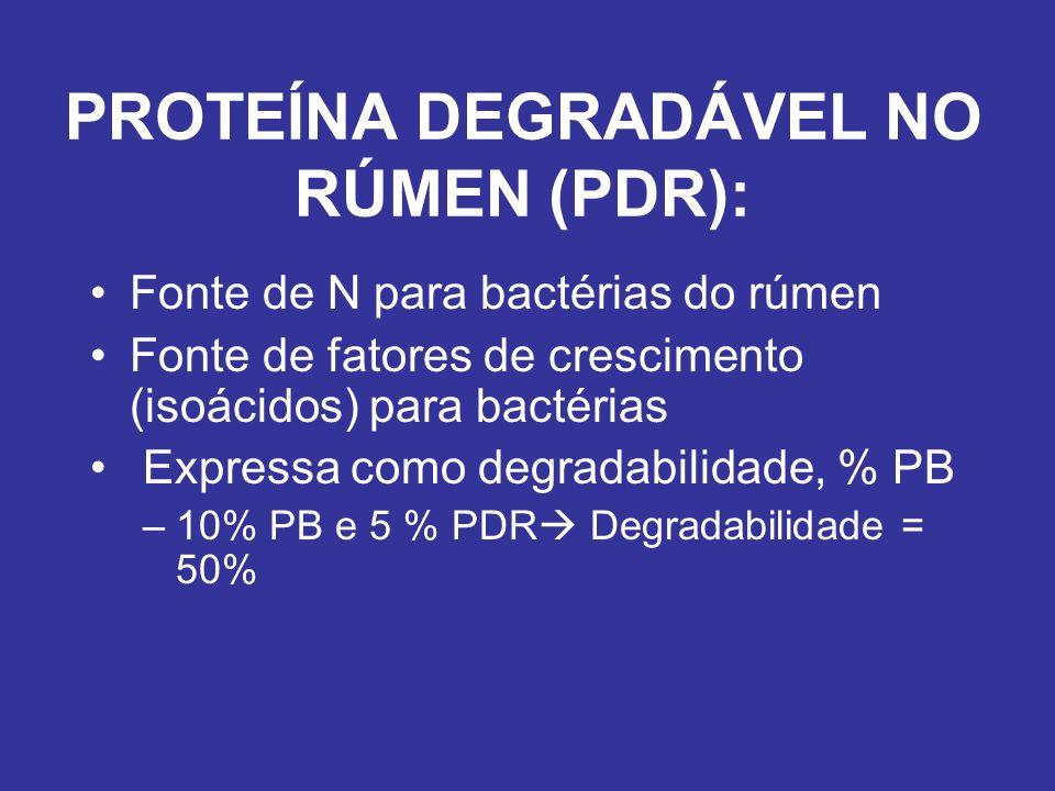 PROTEÍNA DEGRADÁVEL NO RÚMEN (PDR): Fonte de N para bactérias do rúmen Fonte de fatores de crescimento (isoácidos) para bactérias Expressa como degrad