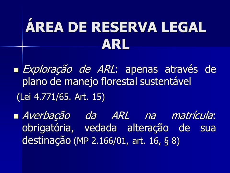 Exploração de ARL: apenas através de plano de manejo florestal sustentável Exploração de ARL: apenas através de plano de manejo florestal sustentável