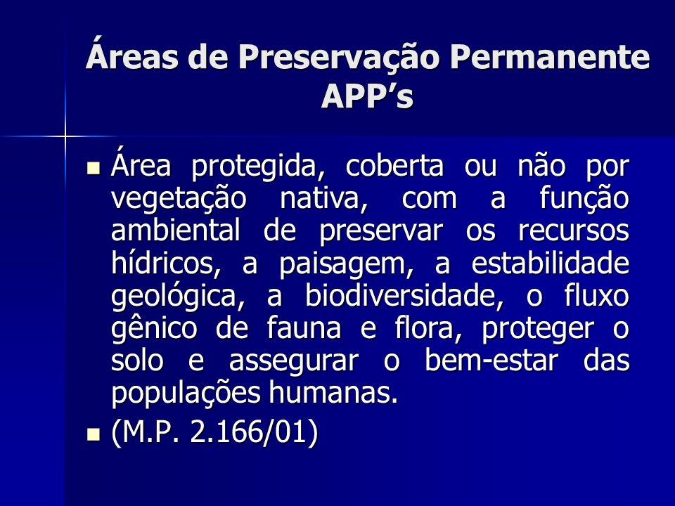 Áreas de Preservação Permanente APPs Área protegida, coberta ou não por vegetação nativa, com a função ambiental de preservar os recursos hídricos, a