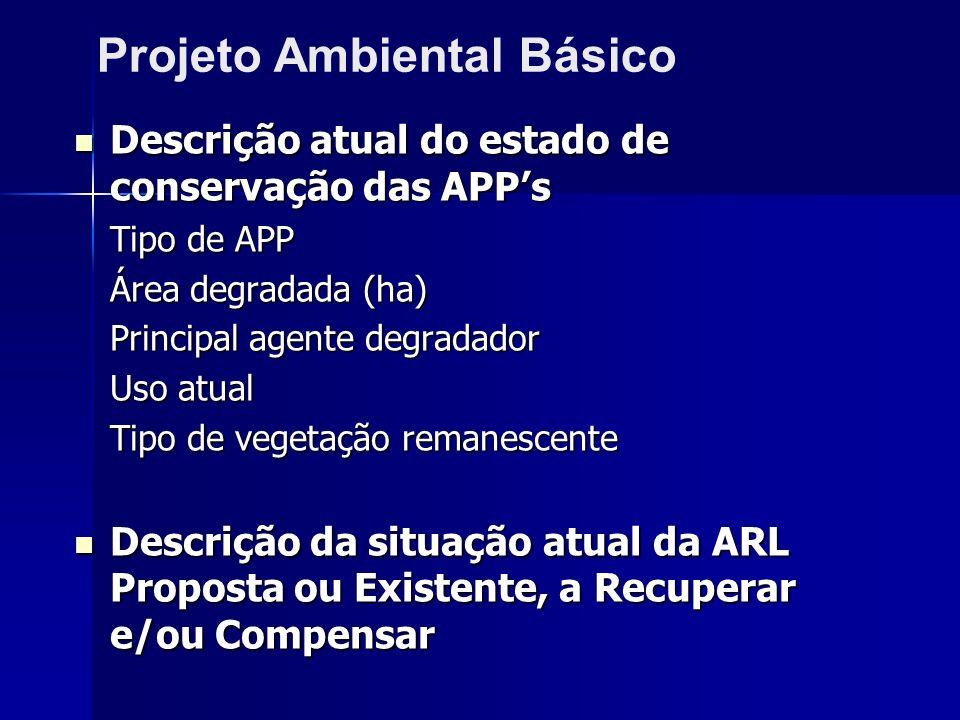 Descrição atual do estado de conservação das APPs Descrição atual do estado de conservação das APPs Tipo de APP Área degradada (ha) Principal agente d