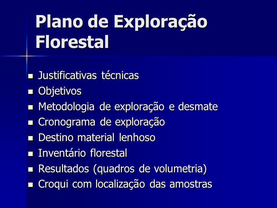 Plano de Exploração Florestal Justificativas técnicas Justificativas técnicas Objetivos Objetivos Metodologia de exploração e desmate Metodologia de e