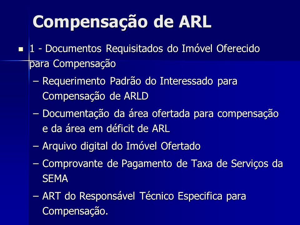 Compensação de ARL 1 - Documentos Requisitados do Imóvel Oferecido para Compensação 1 - Documentos Requisitados do Imóvel Oferecido para Compensação –