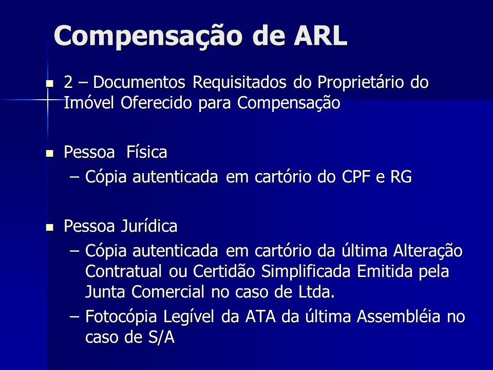 Compensação de ARL 2 – Documentos Requisitados do Proprietário do Imóvel Oferecido para Compensação 2 – Documentos Requisitados do Proprietário do Imó
