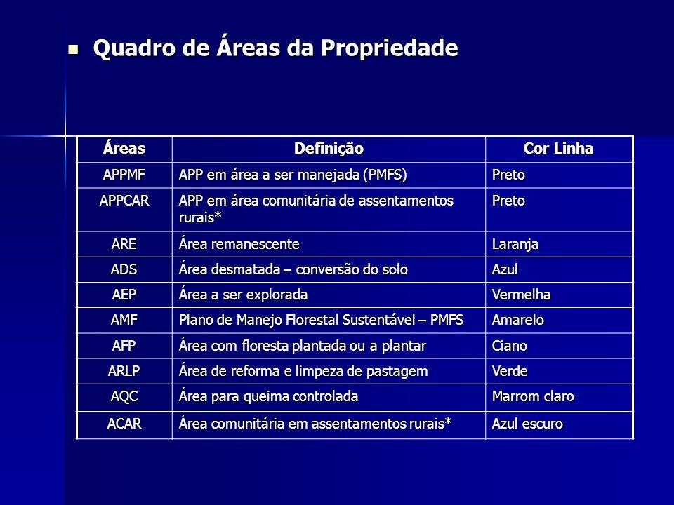 ÁreasDefinição Cor Linha APPMF APP em área a ser manejada (PMFS) Preto APPCAR APP em área comunitária de assentamentos rurais* Preto ARE Área remanesc