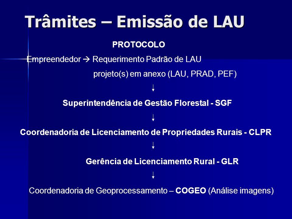 Trâmites – Emissão de LAU PROTOCOLO Empreendedor Requerimento Padrão de LAU projeto(s) em anexo (LAU, PRAD, PEF) Superintendência de Gestão Florestal
