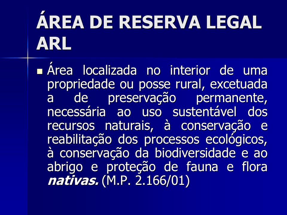 ÁREA DE RESERVA LEGAL ARL Área localizada no interior de uma propriedade ou posse rural, excetuada a de preservação permanente, necessária ao uso sust