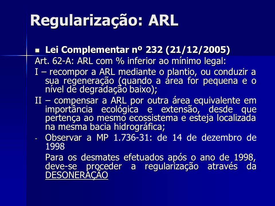 Regularização: ARL Lei Complementar nº 232 (21/12/2005) Lei Complementar nº 232 (21/12/2005) Art. 62-A: ARL com % inferior ao mínimo legal: I – recomp