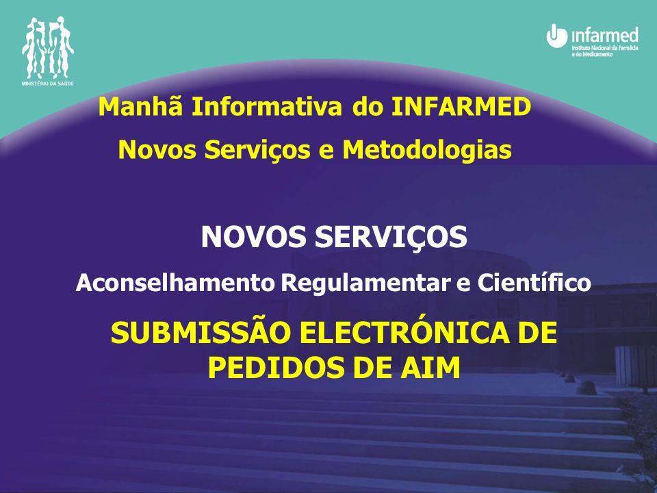 NOVOS SERVIÇOS Aconselhamento Regulamentar e Científico SUBMISSÃO ELECTRÓNICA DE PEDIDOS DE AIM Manhã Informativa do INFARMED Novos Serviços e Metodol