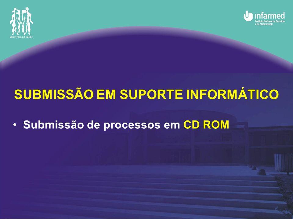 SUBMISSÃO EM SUPORTE INFORMÁTICO Submissão de processos em CD ROM