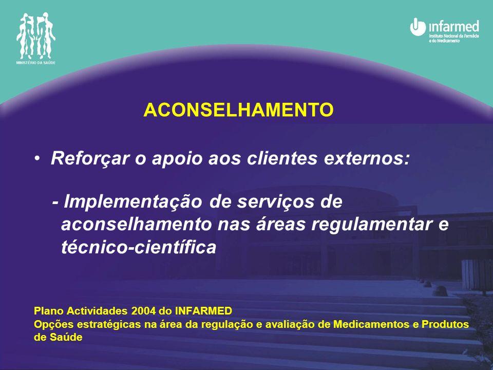 Reforçar o apoio aos clientes externos: - Implementação de serviços de aconselhamento nas áreas regulamentar e técnico-científica Plano Actividades 20