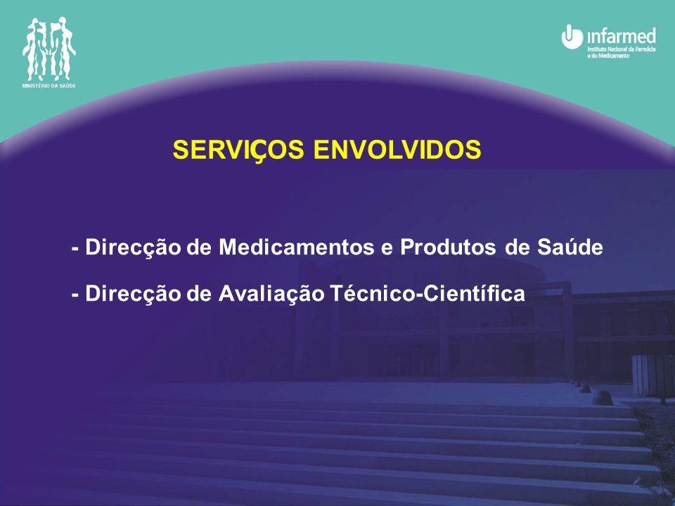 - Direcção de Medicamentos e Produtos de Saúde - Direcção de Avaliação Técnico-Científica SERVI Ç OS ENVOLVIDOS