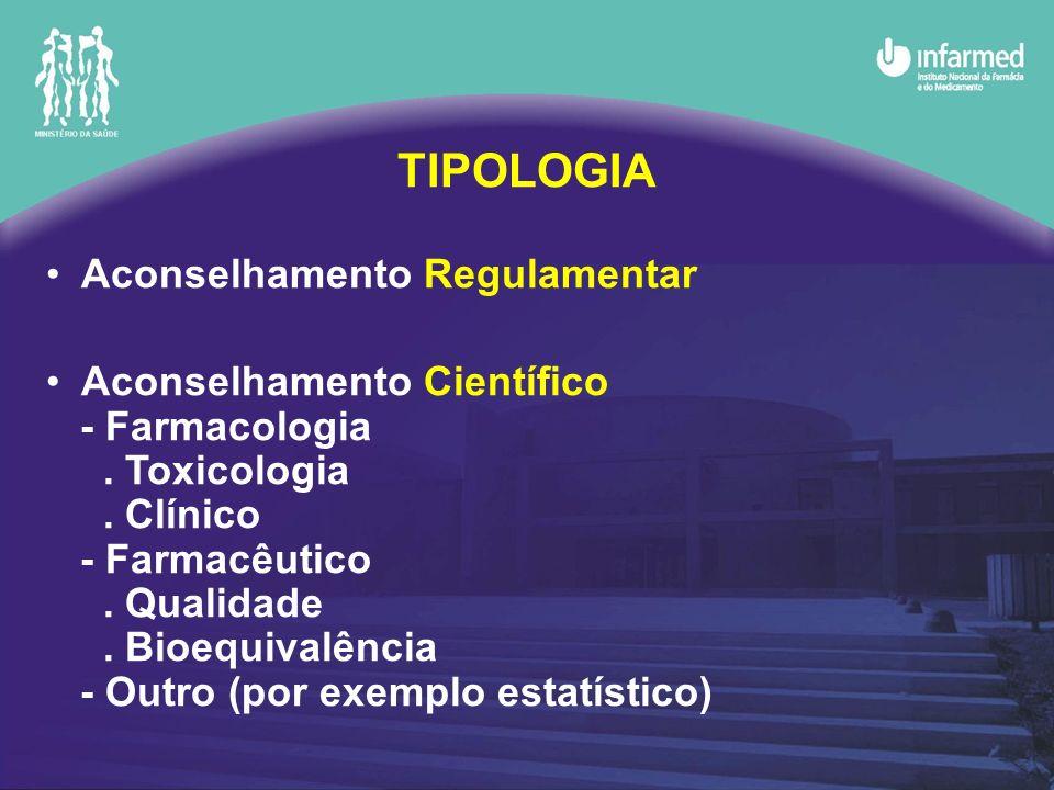 Aconselhamento Regulamentar Aconselhamento Científico - Farmacologia. Toxicologia. Clínico - Farmacêutico. Qualidade. Bioequivalência - Outro (por exe