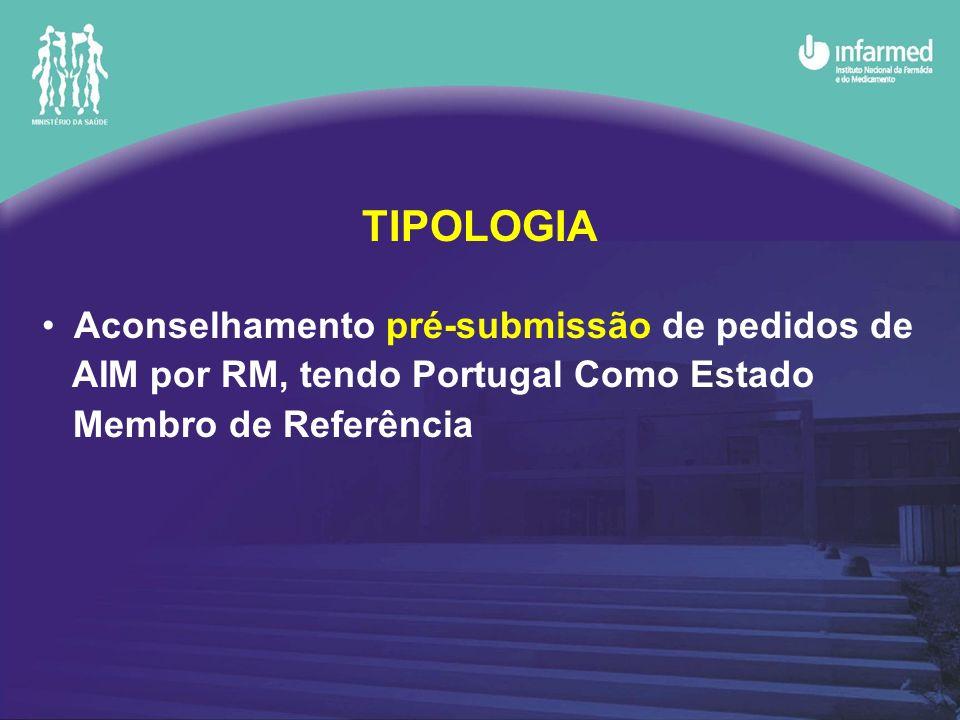 TIPOLOGIA Aconselhamento pré-submissão de pedidos de AIM por RM, tendo Portugal Como Estado Membro de Referência