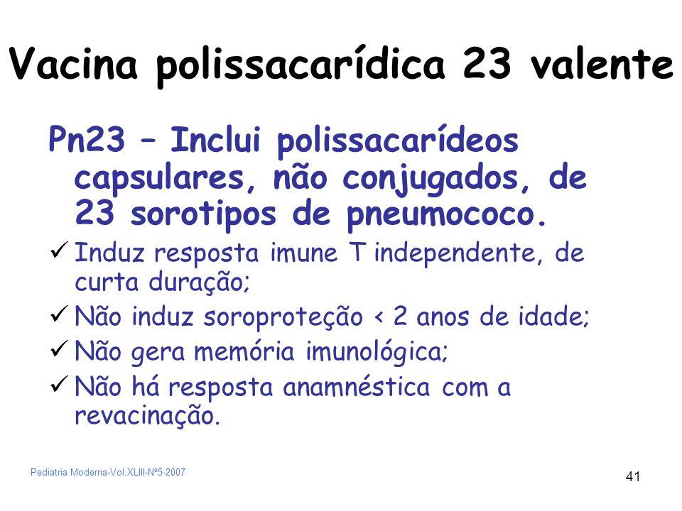 42 Vacina Pneumocócica 7 valente Inclui 7 sorotipos conjugados com proteína diftérica.
